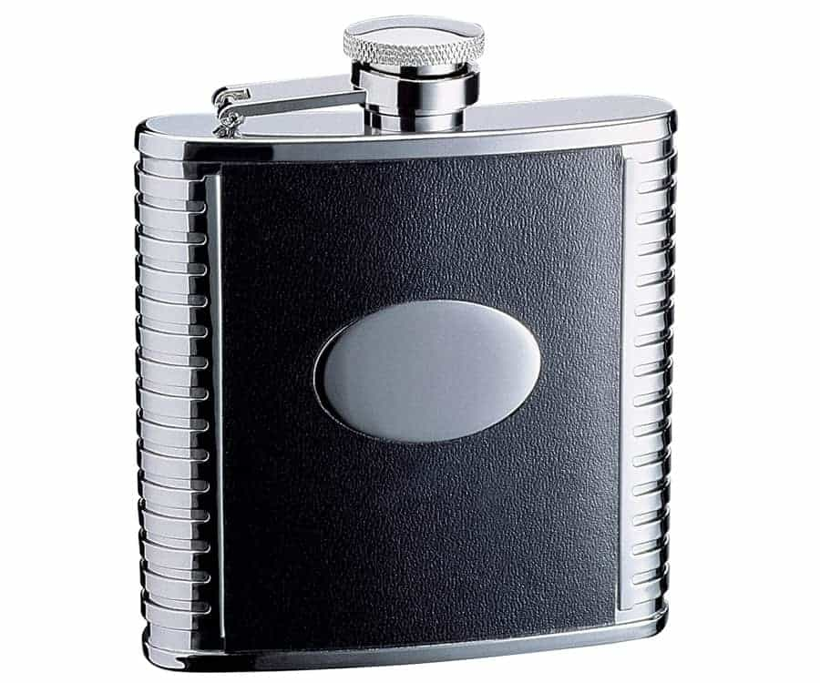 Savoir Black Leather Flask